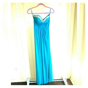 Jump Apparel Turquoise Prom Dress Strappy Sequins
